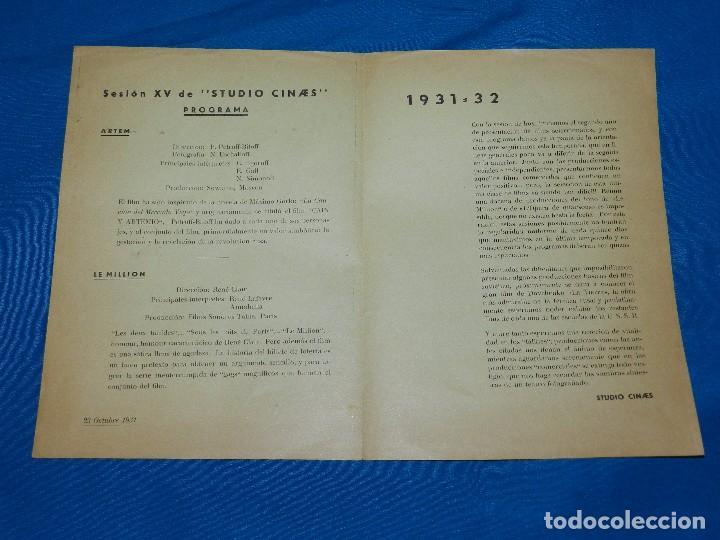 Cine: PROGRAMA STUDIO CINAES 23 OCTUBRE 1931 - PELICULA ARTEM Y LE MILLION, MAXIMO GORKI ( VANGUARDIAS ) - Foto 2 - 89262624