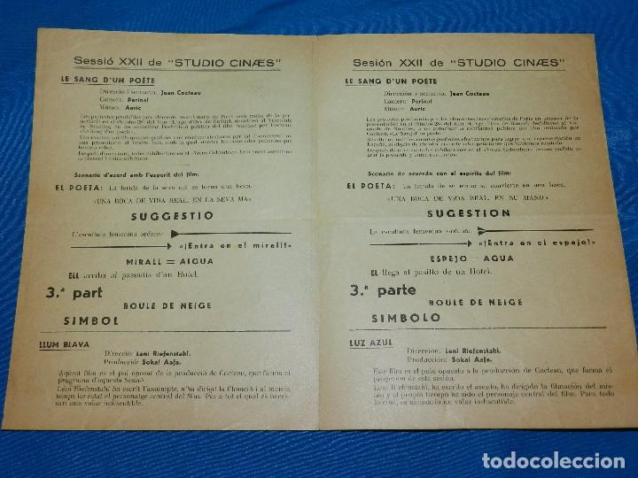 Cine: PROGRAMA STUDIO CINAES DICIEMBRE 1932 - LE SANG DUN POETE JEAN COCTEAU , LLUM BLAVA ,VANGUARDIAS - Foto 2 - 89263076