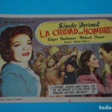 Cine: FOLLETO DE CINE PROGRAMA DE MANO DE LA CIUDAD SIN HOMBRES CON PUBLICIDAD LOTE 2. Lote 89360424