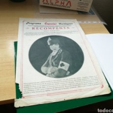 Cine: PROGRAMA DE CINE MUDO. RECOMPENSA. PROGRAMA VERDAGUER. 1927. Lote 89397566