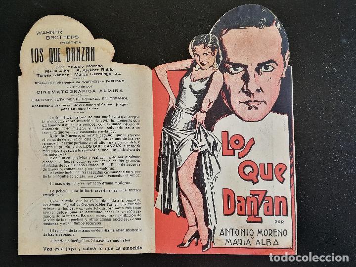 LOS QUE DANZAN - PROGRAMA FOLLETO DE CINE TROQUELADO – 1932 – ANTONIO MORENO Y MARÍA ALBA . (Cine - Folletos de Mano - Drama)