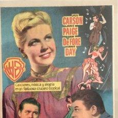 Cine: ROMANZA EN ALTA MAR- DORIS DAY- OLIMPIA- HUESCA. SEPTIEMBRE 1952. Lote 90211060