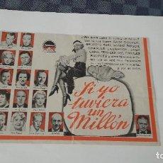 Cine: GARY COOPER EN SI YO TUVIERA UN MILLÓN PROGRAMA DOBLE. Lote 90249188