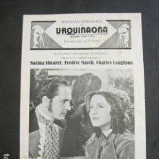 Cine: LAS VIRGENES DE WIMPOLE STREET - CINE URQUINAONA - PROGRAMA LIBRITO -VER FOTOS -(C-3137). Lote 90352380