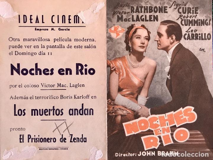 NOCHES DE RIO -DOBLE- IDEAL CINEMA (BENICARLÓ) (Cine - Folletos de Mano - Comedia)