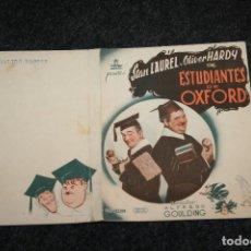 Cine: PROGRAMA DE MANO ESTUDIANTES DE OXFORD. STAN LAUREL Y OLIVER HARDY. Lote 90410394