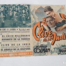 Cine: RONALD COLMAN EN CLIVE DE LA INDIA PROGRAMA DOBLE CON PUBLICIDAD. Lote 112378392