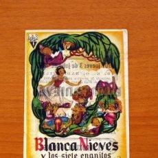 Folhetos de mão de filmes antigos de cinema: BLANCA NIEVES Y LOS SIETE ENANITOS - WALT DISNEY - CON PUBLICIDAD, CINEMA ESPAÑA 1952, TORREVIEJA. Lote 91725775