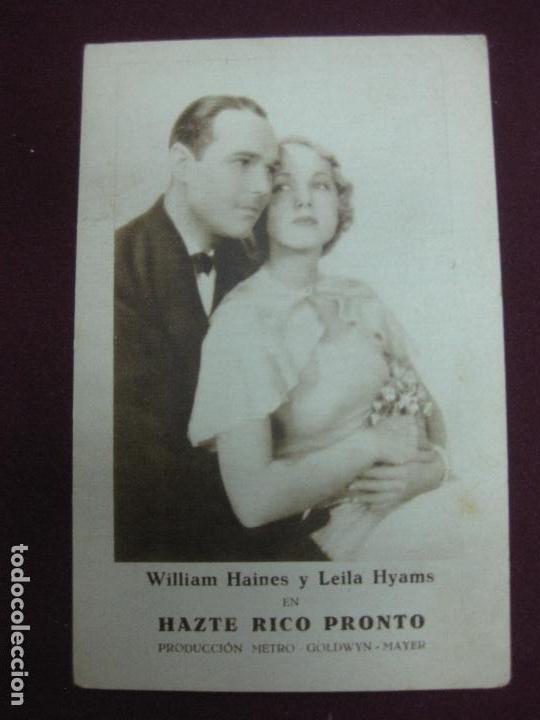 PROGRAMA DE CINE. HAZTE RICO PRONTO. WILLIAM HAINES Y LEILA HYAMS.CARTON METRO GOLDWYN MAYER. (Cine - Folletos de Mano - Comedia)