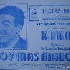 Cine: TEATRO BRETON LOGROÑO KIKO SOY MAS MALO 1963.8 PAGINAS. Lote 92000915