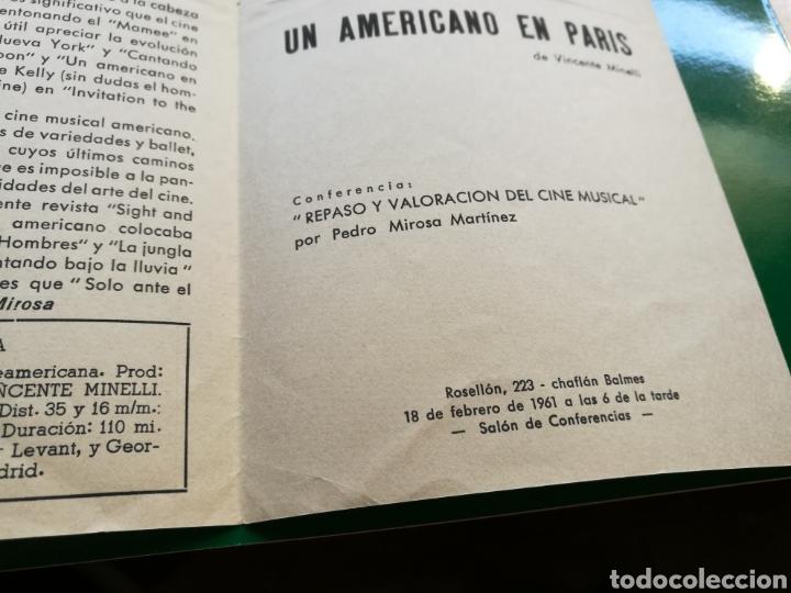 Cine: Programa de cineclub de Barcelona. 1961. Un americano en París - Foto 3 - 92434144