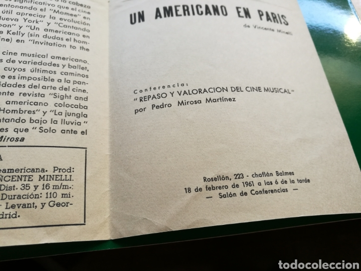 Cine: Programa de cineclub de Barcelona. 1961. Un americano en París - Foto 4 - 92434144