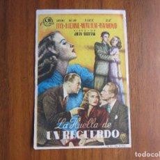 Cine: PROGRAMA DE CINE FOLLETO DE MANO LA HUELLA DE UN RECUERDO DEL1950 CON PUBLICIDAD VER FOTOS. Lote 92735125
