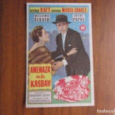 Cine: PROGRAMA DE CINE FOLLETO DE MANO AMENAZA EN LA KASBAH DEL1956 CON PUBLICIDAD VER FOTOS. Lote 92737030