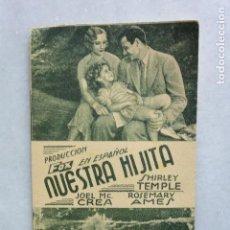 Foglietti di film di film antichi di cinema: PROGRAMA CINE NUESTRA HIJITA. CINE NORBA CÁCERES. AÑOS 30. SHIRLEY TEMPLE. Lote 93190985
