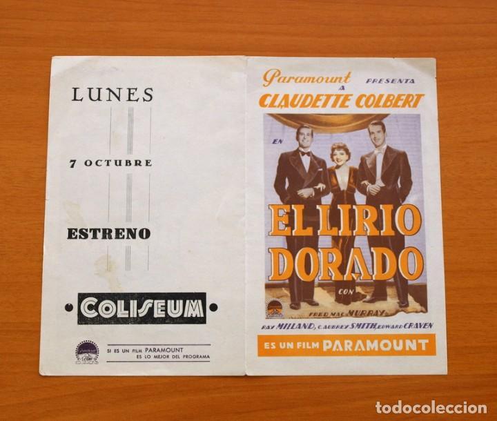 Cine: El lirio dorado - Claudette Colbert, Fred Mac Murray, Ray Milland - Publicidad, Coliseum - Foto 3 - 93357860