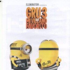 Cine: GRU 3, MI VILLANO FAVORITO. 21 X 29,5 CMS.. Lote 93655165