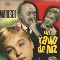 Cine: MARISOL UN RAYO DE LUZ CARTELITO ARGUMENTO Y FICHA DE LA PELICULA DORSO ORIGINAL SUEVIA FILMS 1960. Lote 93820460