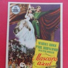 Cine: FOLLETO, PROGRAMA CINE - MASCARA AZUL , AÑO 1956 -TEATRO REGIO, YECLA (MURCIA)..... R-6726. Lote 93826555