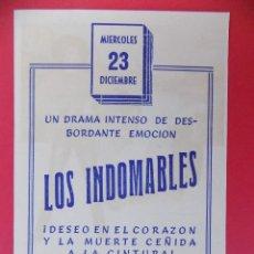 Cine: FOLLETO, PROGRAMA CINE - LOS INDOMABLES, AÑO 1960 -TEATRO VILLAMARTA ( JEREZ )... R-6730. Lote 93830380