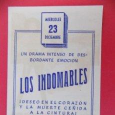 Cine: FOLLETO, PROGRAMA CINE - LOS INDOMABLES, AÑO 1960 -TEATRO VILLAMARTA ( JEREZ )... R-6731. Lote 93830450