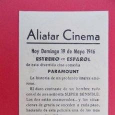 Cine: FOLLETO, PROGRAMA CINE - NO HAY TIEMPO PARA AMAR, AÑO 1946 - ALIATAR CINEMA ( GRANADA )... R-6732. Lote 93831035
