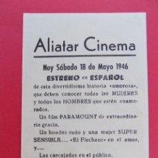 Cine: FOLLETO, PROGRAMA CINE - NO HAY TIEMPO PARA AMAR, AÑO 1946 - ALIATAR CINEMA ( GRANADA )... R-6733. Lote 93831145
