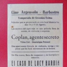Flyers Publicitaires de films Anciens: FOLLETO, PROGRAMA CINE -COPLAN AGENTE SECRETO, AÑO 1964 -CINE ARGENSOLA (BARBASTRO)... R-6736. Lote 208671075