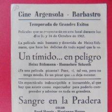 Flyers Publicitaires de films Anciens: FOLLETO, PROGRAMA CINE -UN TIMIDO EN PELIGRO, AÑO 1961 -CINE ARGENSOLA (BARBASTRO)... R-6737. Lote 93935030
