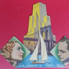 Cine: FOLLETO,PROGRAMA CINE, TROQUELADO - LA REINA DE NUEVA YORK - AÑO 1937... R-6744. Lote 93941350