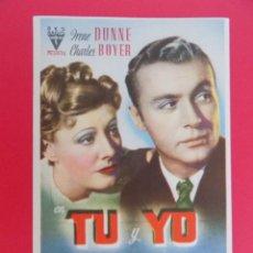 Cine: FOLLETO, PROGRAMA CINE- TU Y YO - AÑO APROX. 1945 - CHARLES BOYER - ORIGINAL -...R- 6831. Lote 94453410