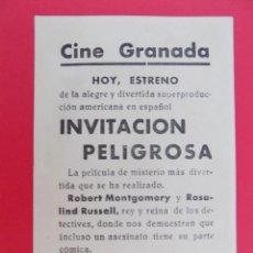 Cine: FOLLETO, PROGRAMA CINE- INVITACION PELIGROSA - CINE GRANADA - AÑO APROX.1946 - ORIGINAL -...R- 6833. Lote 94454366