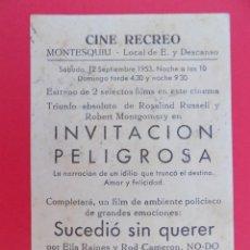 Cine: FOLLETO, PROGRAMA CINE-INVITACION PELIGROSA -CINE RECREO DE MONTESQUIU (BARCELONA)-ORIGINAL-.R- 6834. Lote 94454786