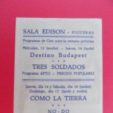 Flyers Publicitaires de films Anciens: FOLLETO, PROGRAMA CINE - SALA EDISON, FIGUERAS (GIRONA) - PARIS PALACE HOTEL ...R- 6847. Lote 94517842