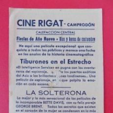 Cine: FOLLETO, PROGRAMA CINE- CINE RIGART CAMPODRÓN (GIRONA)-TIBURONES EN EL ESTRECHO-APROX.1952...R- 6852. Lote 94577363