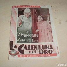 Cine: PROGRAMA DE CINE DOBLE - LA CALENTURA DEL ORO - CARLOS LAEMMLE / UNIVERSAL PICTURES - AÑOS 30. Lote 95570567