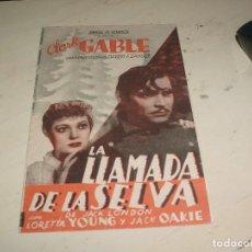 Cine: LA LLAMADA DE LA SELVA // CLARK GABLE 1936 // FOLLETO DE MANO DOBLE // PROGRAMA CINE DOBLE. Lote 95571235