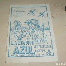 Cine: ANTIGUO FOLLETO DE MANO LA DIVISION AZUL . Lote 95580847