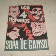 Cine: SOPA DE GANSO, LOS 4 HERMANOS MARX, PROGRAMA DOBLE, AÑOS 30. Lote 95581819