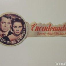 Cine: ENCADENADOS - FOLLETO MANO TROQUELADO ALFRED HITCHCOCK CARY GRANT IMPRESO CINE COLISEUM. Lote 95754559