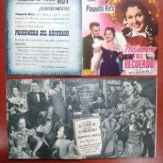 Cine: FOLLETO DE CINE DE MANO PRISIONERA DEL RECUERDO CON PAQUITA RICO --CINE CARDENIO,AYAMONTE,HUELVA---. Lote 95799375