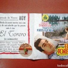 Cine: PROGRAMA EL TORERO-DANIELLE DARRIEUX-PEPIN MARTIN VAZQUEZ-DOBLE C---CINE CARDENIO,AYAMONTE,HUELVA--. Lote 95800007