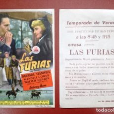 Cine: PROGRAMA DE MANO . LAS FURIAS , ---CINE CARDENIO,AYAMONTE,HUELVA--. Lote 95800251
