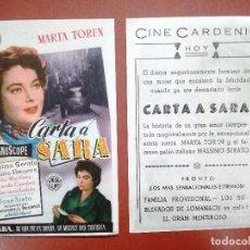 Flyers Publicitaires de films Anciens: PROGRAMA DE CINE. CARTA A SARA. MARTA TOREN. CIFESA---CINE CARDENIO,AYAMONTE,HUELVA--. Lote 114205122