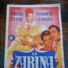 Cine: LA ZARINA. CINE MARIA CRISTINA DE GIJON.. Lote 95923083