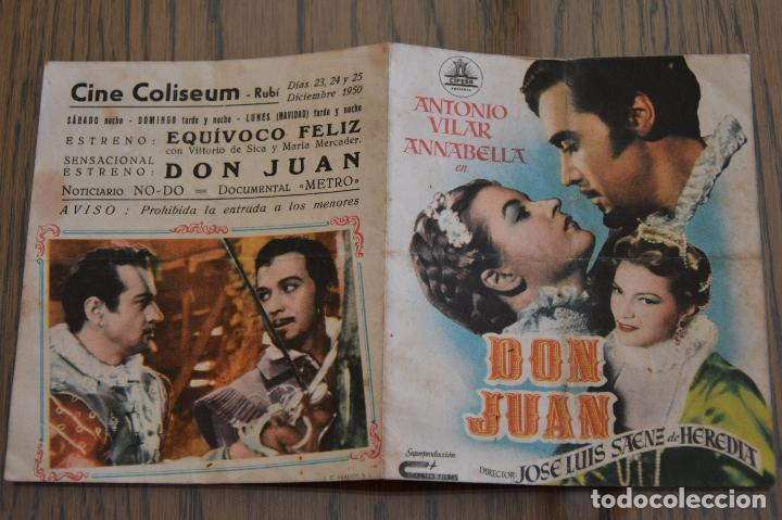 DON JUAN. J. L. SÁENZ DE HEREDIA. ANTONIO VILAR. ANNABELLA. DOBLE. CINE COLISEUM, RUBI. LITERACOMIC. (Cine - Folletos de Mano - Clásico Español)