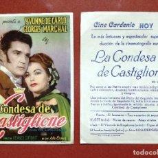 Flyers Publicitaires de films Anciens: LA CONDESA DE CASTIGLIONE - YVONNE DE CARLO, GEORGES MARCHAL --CINE CARDENIO AYAMONTE(HUELVA)--. Lote 114335003