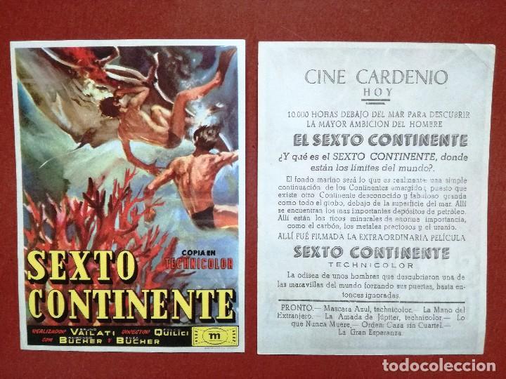 FOLLETO MANO - SEXTO CONTINENTE,--CINE CARDENIO AYAMONTE(HUELVA)-- (Cine - Folletos de Mano - Clásico Español)