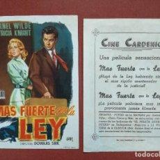 Flyers Publicitaires de films Anciens: - PROGRAMAS DE CINE: MAS FUERTE QUE LA LEY-CINE CARDENIO AYAMONTE(HUELVA)--. Lote 118237239