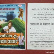 Flyers Publicitaires de films Anciens: AVENTURAS DE ROBINSON CRUSOE ---CINE CARDENIO AYAMONTE(HUELVA)--. Lote 113778447